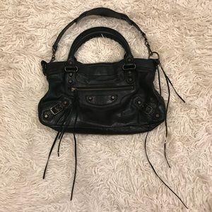 Balenciaga mini classic city black motorcycle bag